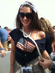 girl wearing a flag shirt