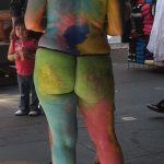 woman naked and painted in Times Square