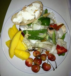a plate full of fresh vegetables and fruit